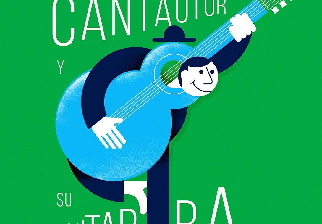 El cantautor y si guitarra ilustración